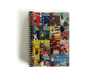Travel Journal Around the World, Writing Blank Notebook, Sketchbook Spiral Bound Mid Century A6, Pocket, Back to School, 4x6, Gifts Under 20