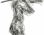 Monique in September I, original art,  archival ink, ooak, nude