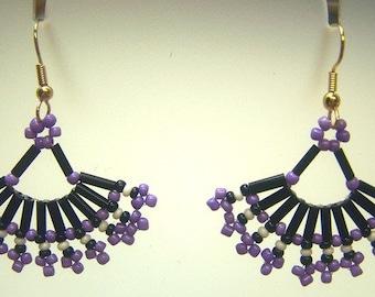 Hand Woven Purple & Black Fan Earrings
