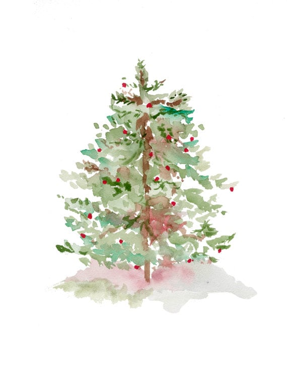 Tree print from original watercolor christmas holiday art for Christmas paintings easy