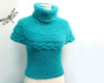 Green Knit Sweater, Turtle Neck, Short Sleeved, Mohair Blend - SOFT HUG