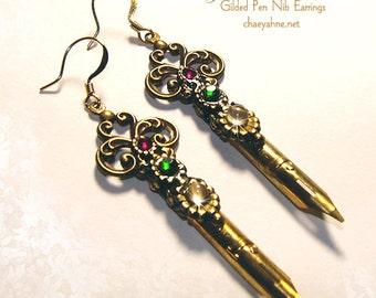 MOONLIT SCROLLS Elegant Scribe MOONSTONE Gilded Pen Nib Earrings