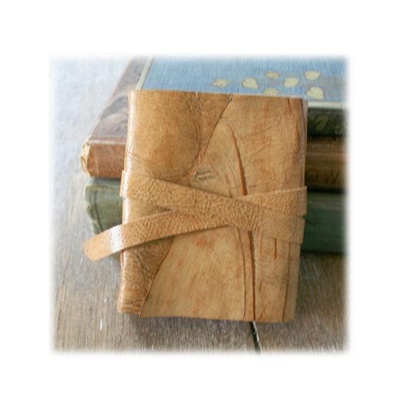 Leather Journal . Pablo Neruda's Love Sonnet XVII . handmade handbound . tan with dark veining (280 pgs)