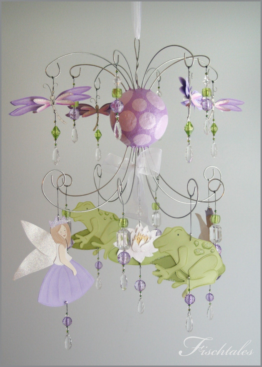 Baby girl chandelier thejots frog princess chandelier mobile baby mobile nursery mobile lighting ideas arubaitofo Image collections