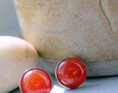 Carnelian Gemstone 10mm Studs - NICKLE FREE SILVER