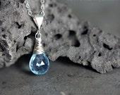 Blue Topaz jewelry Blue Topaz necklace sterling silver Blue Topaz pendant - Blue Topaz earrings set wedding jewelry something blue - Nimue