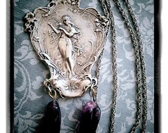 Art Nouveau Alphonse Mucha Printemps Vintage Amulet with Antique Czech amethyst glass drops