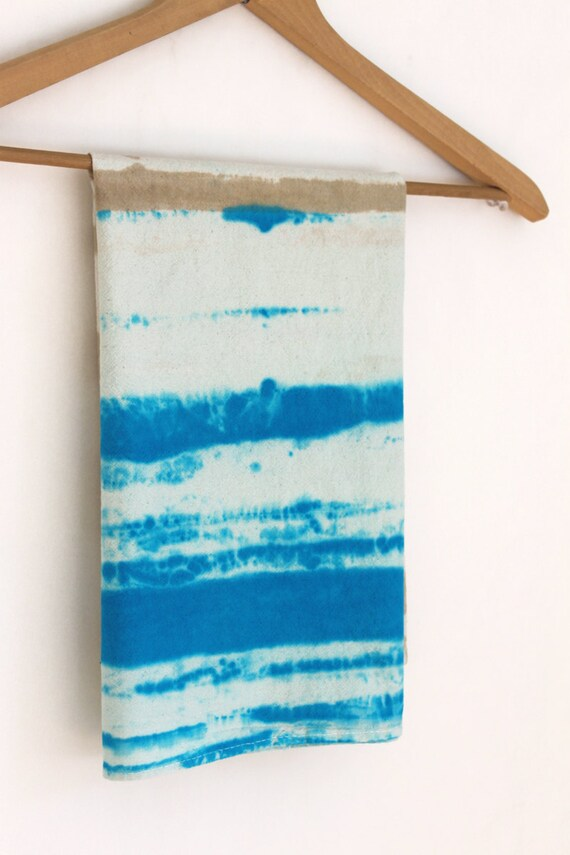 Tea Towel unbleached cotton dish towel turquoise blue and ecru natural hand dyed stripes kitchen towel
