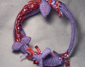 Acalyn - OOAK crocheted winged serpent soft sculpture and necklace