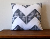 Hand Printed Gray and White Chevron Pillow - 16 x 16 Pillow with Insert - Desert - Southwest