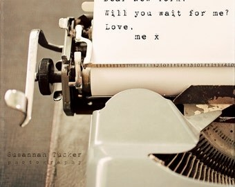 SALE - New York typography photo, vintage typewriter, for the NYC lover, typography wall art - Dear New York will you wait for me