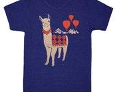 Llama - Unisex Mens T-Shirt Mountains Nature Track Tee Shirt Folk Cute Peru Folkloric Alpaca Animal Red Hot Air Balloon Blue Indigo Tshirt
