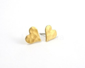 Hammered Heart Stud Earrings, Romantic Jewelry, Sterling Silver Studs, Gold Heart Earrings, Heart Jewelry, Hypoallergenic Earrings (E135)