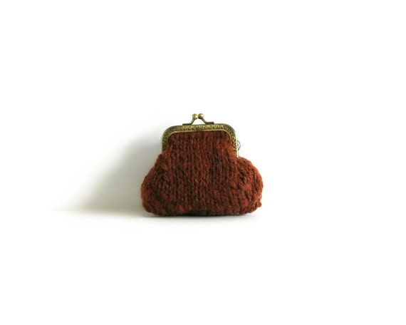 Rusty Brown Retro Coin Purse Knitted