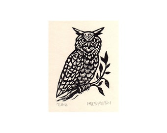 Linoleum Block Art - Owl Linocut Art Print - Animal Linocut Wall Art - Rustic Woodland Home Decor - Hand carved Owl Linoblock Print on Paper