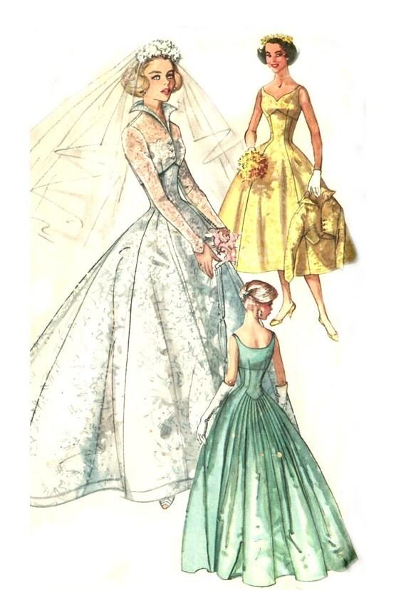 Vintage 50s Sweetheart Wedding Dress Pattern - Simplicity 2066 - Empire Waist - Wing Collar Jacket - Size 14