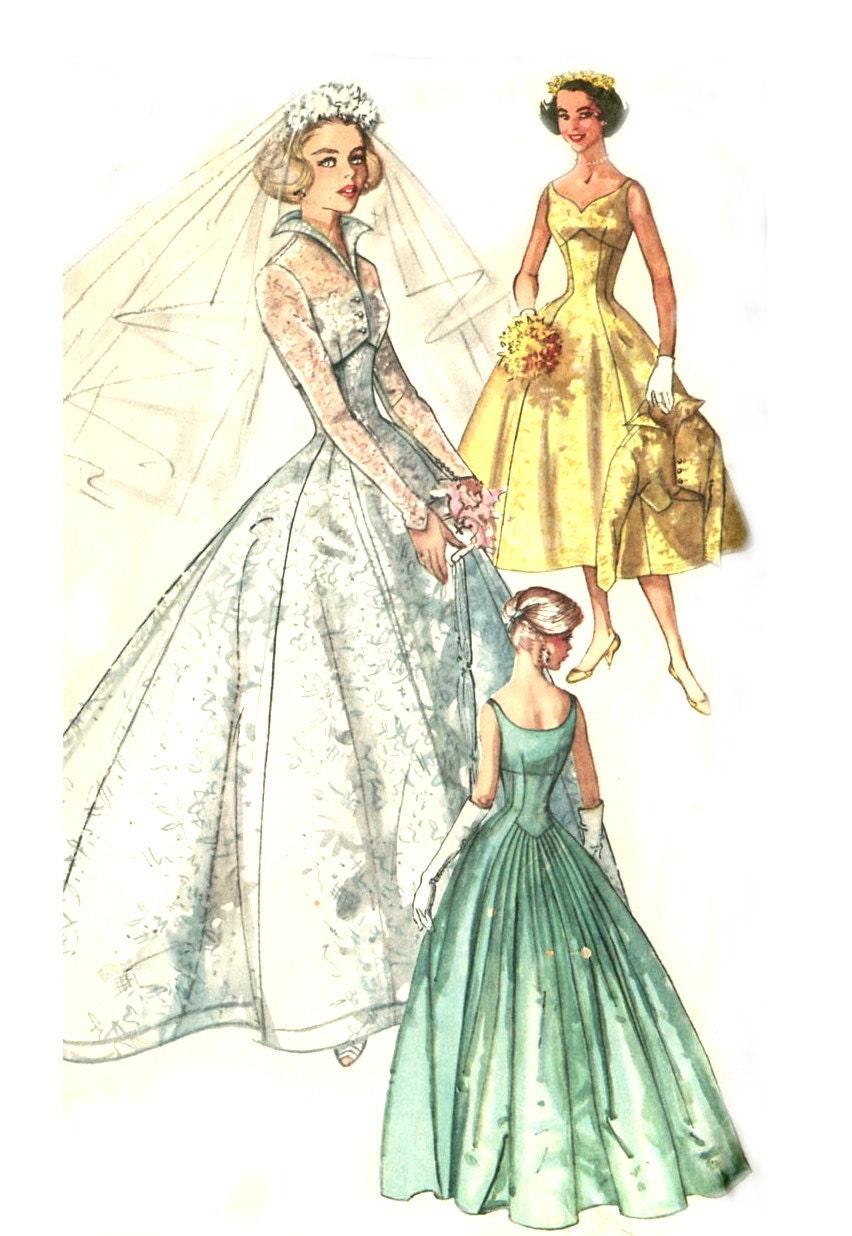Vintage 50s Sweetheart Wedding Dress Pattern Simplicity 2066