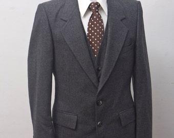 Men's Suit / Vintage Blazer, Vest, Trousers / Three Piece Grey Wool Suit