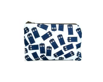 Dr Who Zipper Pouch / Camera Bag in Tossed Tardis