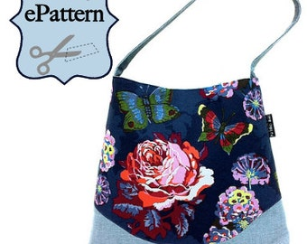 2- PDF Sewing Pattern, Shoulder Bag with Zipper Pocket Divider and Lanyard