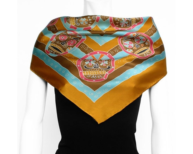 Day of the dead scarf, Dia de Los Muertos art, Batik silk scarf, skull scarf, Skull Painted, Sugar Skull Scarf, dia de los muertos fashion
