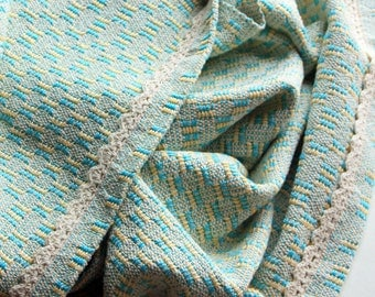 Woven Baby Blanket Handwoven Wrap, cotton teal and yellow with crochet trim