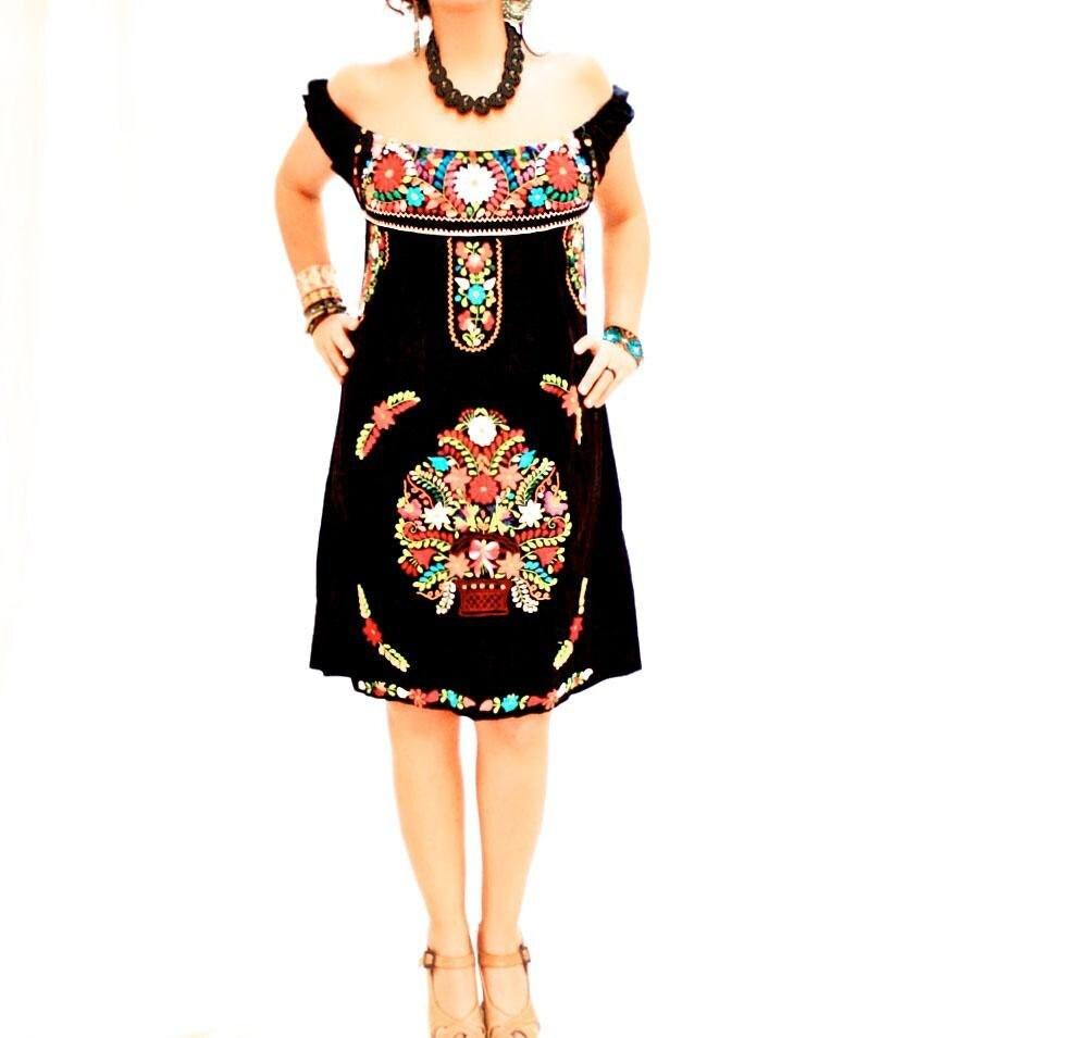 De Noche Beautiful Black Mexican Embroidered Off By AidaCoronado