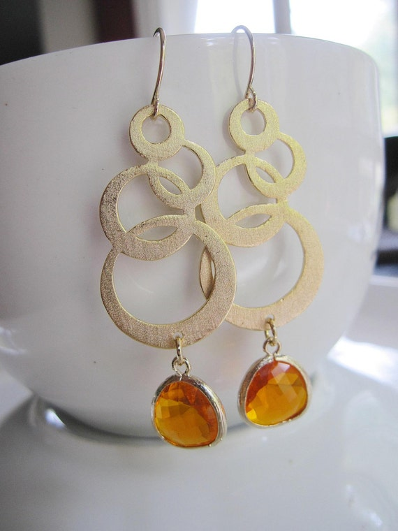 Gold Circle Earrings with Amber Glass, Large Gold Dangle, Orange Earrings, Modern Pendant, Wedding, Bridal, Bridesmaid Jewelry