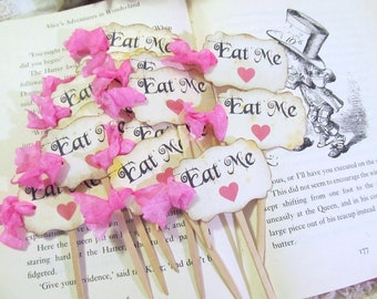 Alice Eat Me Cupcake Toppers - Party Picks with Hot Pink Hearts - Set of 18 - Choose Ribbon - Baby Bridal Shower Tea Party Looking Glass