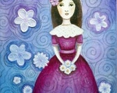Original Painting Acrylic Mixed Media In The Garden