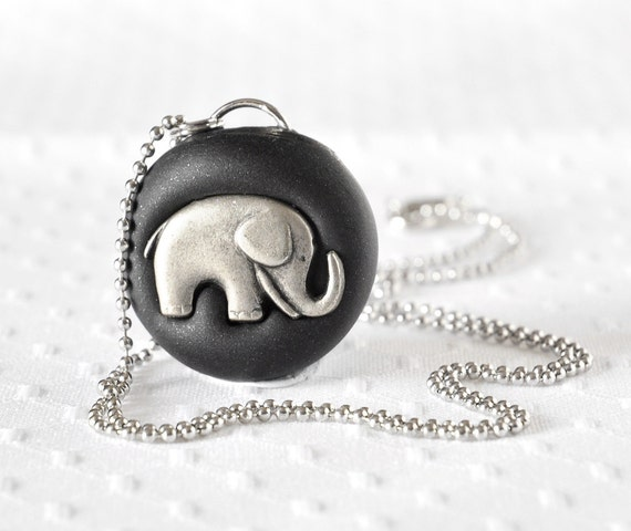 SALE! Baby Elephant Necklace Jungle Safari Fashion Jewelry. Handmade with Shimmering Black Polymer Clay. Great Gift for Her, Gift for Teens