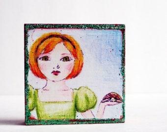 Tortoise and Girl-My Chelonia-Orange and Green Art Block- Stocking Stuffer Under 20