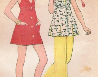 1970s McCall's 4115 Vintage Sewing Pattern Misses' Mini Dress or Top and Pants Size 10 Bust 32-1/2