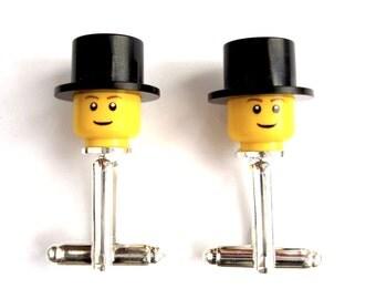 Top Hat Cufflinks, Handmade with LEGO(r) Top Hats and LEGO(r) Heads, Cufflinks for weddings, groomsmen cufflinks - Silver Plated