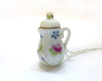 Red and Blue Teapot Necklace, Miniature Food Jewelry, Polymer Clay Food Jewelry