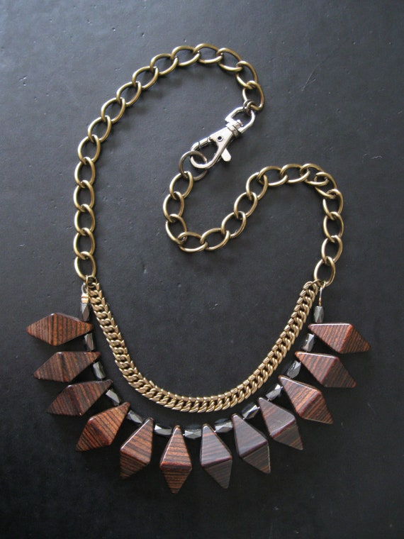 SALE - Geometric Wood Bib Necklace - Modern Tribal Woodgrain - Eco Friendly Vintage Materials