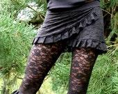 Black Dahlia Lace Ruffle Mini Skirt