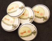 "5 Snowman  buttons.  Snowman SHANK sewing buttons. 3/4"" or 20 mm round."
