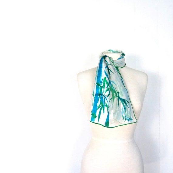 Vintage Vera Scarf / Blue Bamboo Print / 1970s Silk Chiffon Scarf