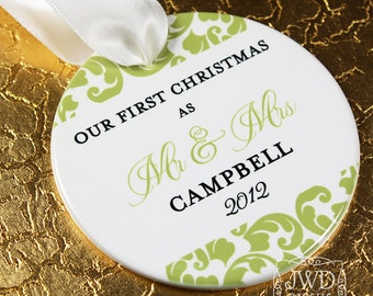 Our First Christmas Ornament Mr and Mrs Wedding Ornament Personalized Wedding Gift - Kirkland Pattern - Item# KIR-MM-O