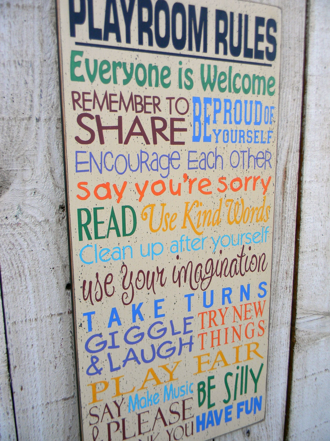 playroom typography wall sign