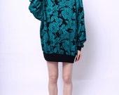 1980s Randy Blue Turtleneck Floral Sweater Dress
