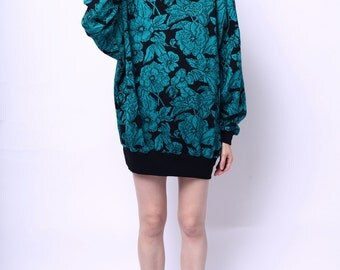 1980s Randy Blue Turtleneck Floral Sweater Dress