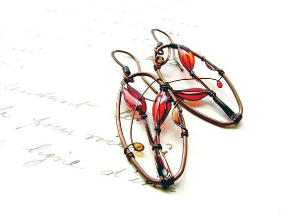 Earrings Red Landscapes. Dangle Earrings. Dark Copper Earrings. Red Earrings. Wire Earrings. Oval Earrings. Original Earrings. Red Jewelry.