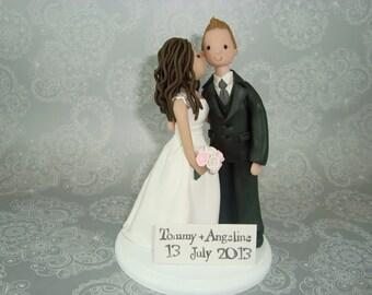 Bride Kissing Groom Customized Wedding Cake Topper