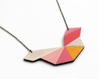 Geometric polygon wooden necklace - yellow, gold, rose, pink, natural wood - minimalist, modern jewelry - color blocking