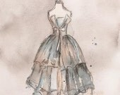 Print - Watercolor and Charcoal Painting - Vintage Strapless Champagne Dress - Vintage fashion