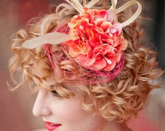 Fascinator, coral fascinator hat, salmon wedding hat, melon feather fascinator CORALS AND PEARLS