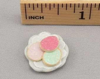 Dollhouse Miniature 3  Easter Egg Sugar Cookies on Small Plate