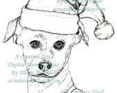 INSTANT DOWNLOAD Digital Stamp Image A PUPPY for Christmas
